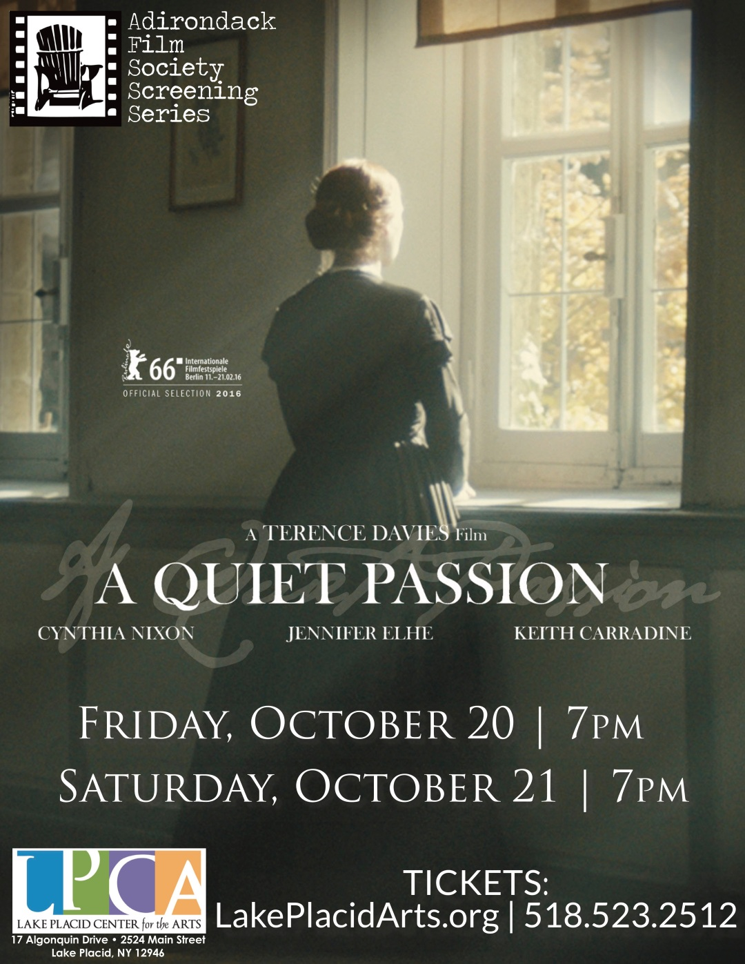 A Quiet Passion LPCA flyer AdkFilmSocScreeningSeries 10-20&21-17