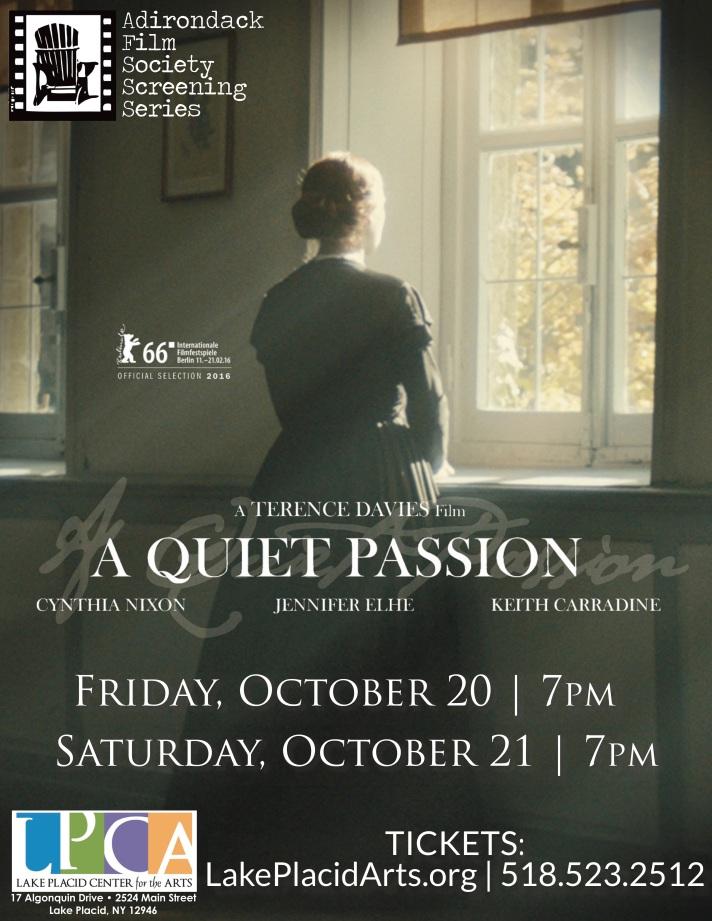 A Quiet Passion LPCA flyer AdkFilmSocScreeningSeries 10-20&21-17